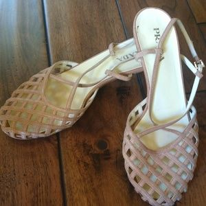 Prada Lattice Style Tan Leather Kitten Heels